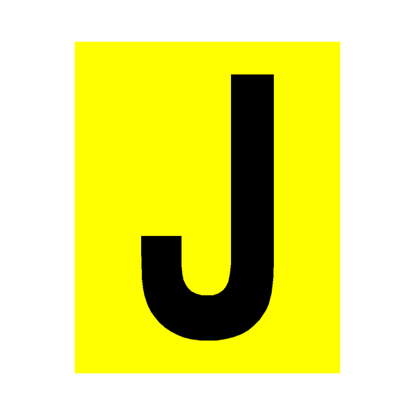 Yellow Letter J Sticker - Safety-Label.co.uk