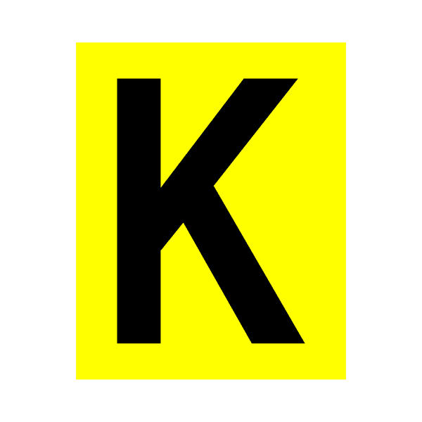 Yellow Letter K Sticker - Safety-Label.co.uk