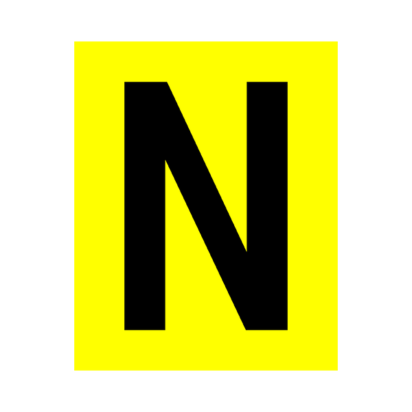 Yellow Letter N Sticker | Safety-Label.co.uk