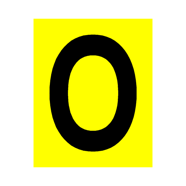 Yellow Letter O Sticker - Safety-Label.co.uk