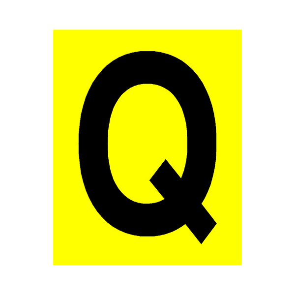 Yellow Letter Q Sticker | Safety-Label.co.uk