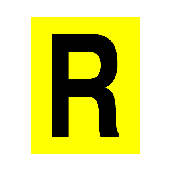 Yellow Letter R Sticker | Safety-Label.co.uk