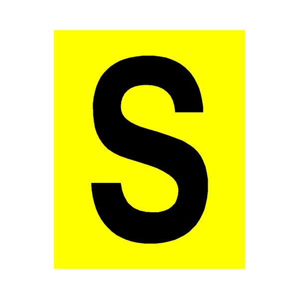 Yellow Letter S Sticker - Safety-Label.co.uk