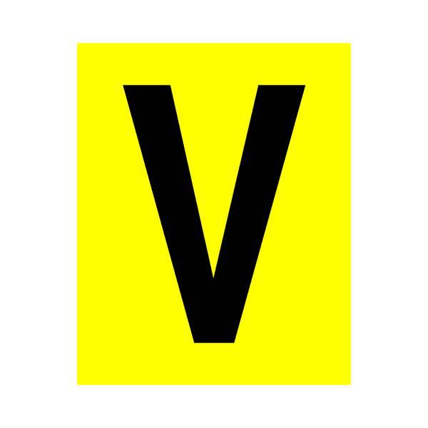 Yellow Letter V Sticker - Safety-Label.co.uk