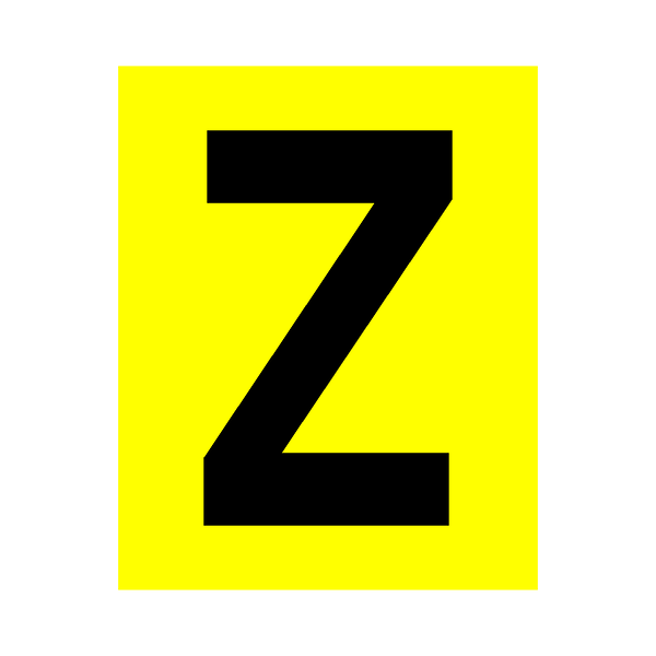 Yellow Letter Z Sticker - Safety-Label.co.uk