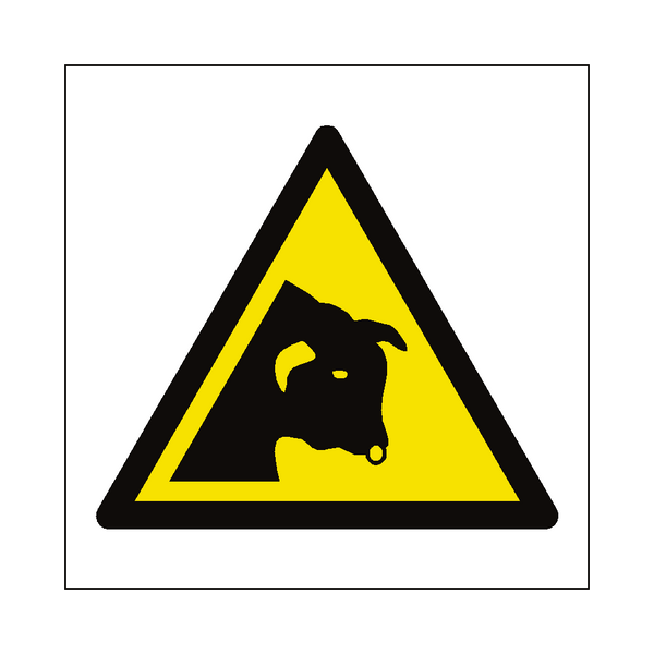 Bull Warning Symbol Label - Safety-Label.co.uk