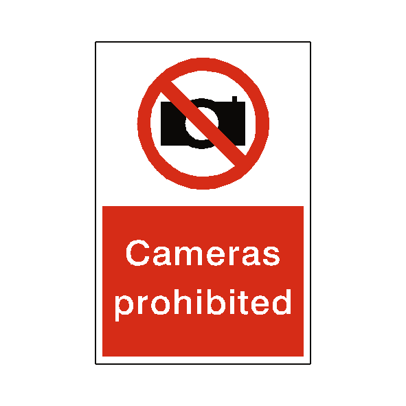 Cameras prohibited sign safety label co uk safety signs safety stickers safety labels