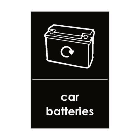 Car Batteries Waste Sticker - Safety-Label.co.uk