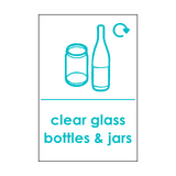 Clear Glass Waste Sticker - Safety-Label.co.uk