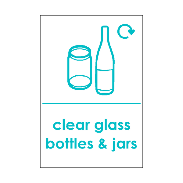 Clear Glass Waste Sticker | Safety-Label.co.uk