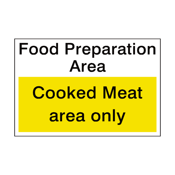 Cooked Meat Area Sign - Safety-Label.co.uk