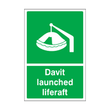 Davit Launched Liferaft Sign | Safety-Label.co.uk