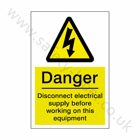 Disconnect Electrical Supply Sign - Safety-Label.co.uk