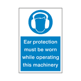 Ear Protection Machinery Sticker | Safety-Label.co.uk