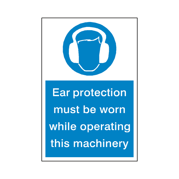 Ear Protection Machinery Sticker - Safety-Label.co.uk