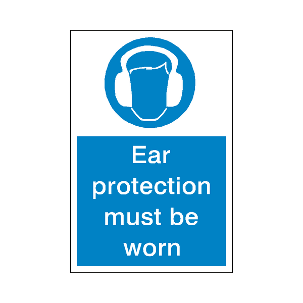 Ear Protection Sticker | Safety-Label.co.uk