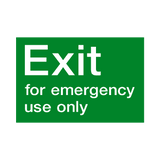 Exit For Emergency Use Only Sticker | Safety-Label.co.uk