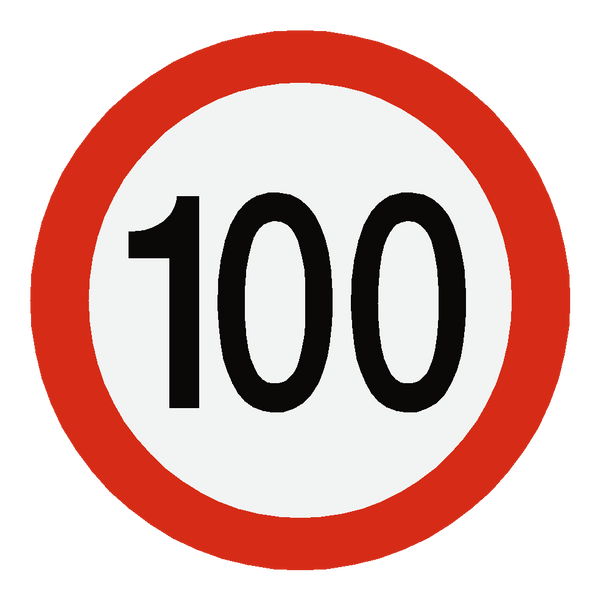 European 100 Kmh Speed Limit Sticker - Safety-Label.co.uk
