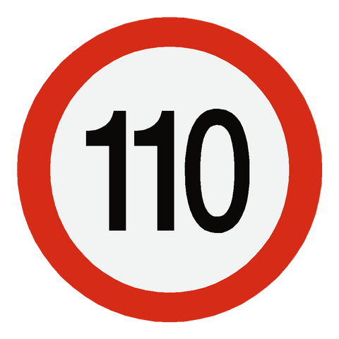 European 110 Kmh Speed Limit Sticker - Safety-Label.co.uk