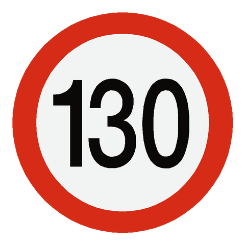 European 130 Kmh Speed Limit Sticker - Safety-Label.co.uk
