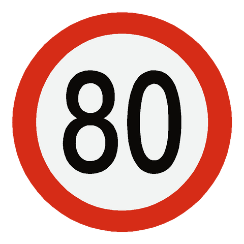 European 80 Kmh Speed Limit Sticker - Safety-Label.co.uk