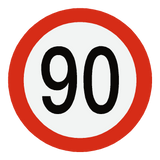 European 90 Kmh Speed Limit Sticker | Safety-Label.co.uk