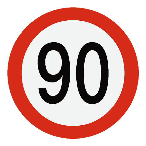 European 90 Kmh Speed Limit Sticker - Safety-Label.co.uk
