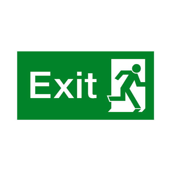 Exit Right Fire Exit Sign - Safety-Label.co.uk
