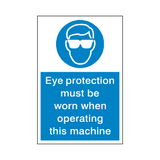 Eye Protection Machinery Sticker | Safety-Label.co.uk
