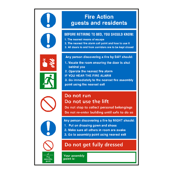 Hotel Fire Action Notice Sign - Safety-Label.co.uk