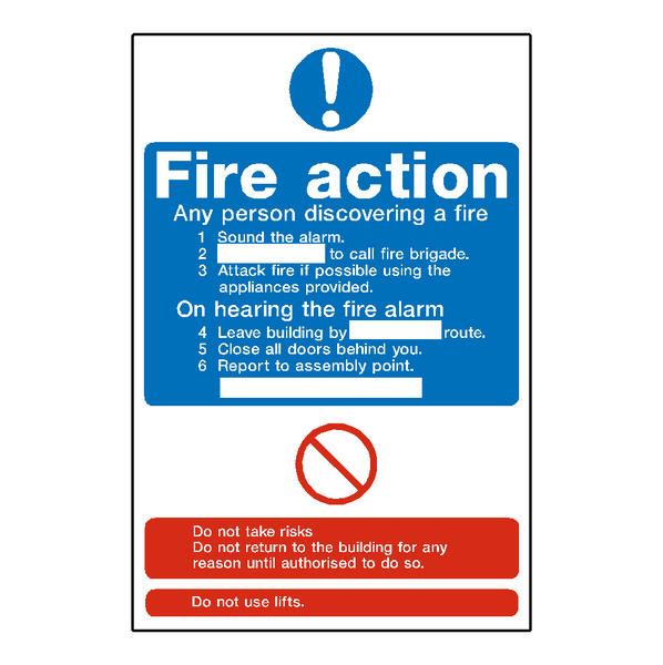 Fire action notice sticker safety safety for Evacuation label template