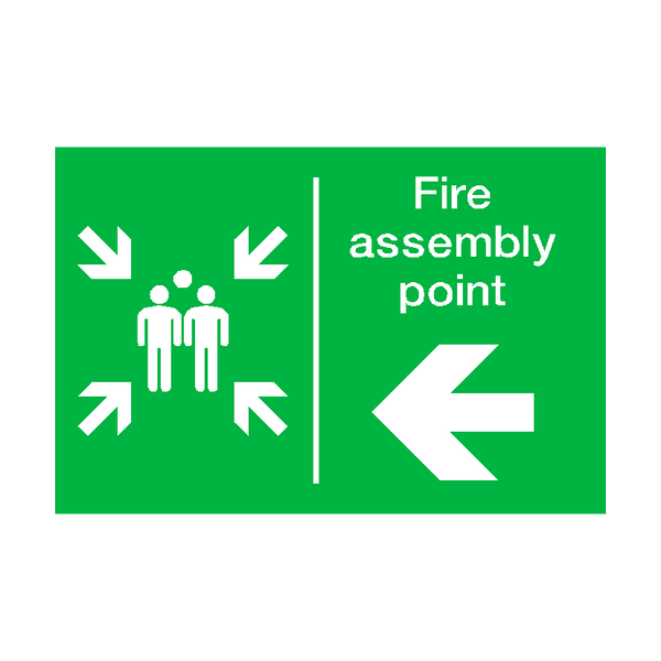 Fire Assembly Point Arrow Left Sticker - Safety-Label.co.uk