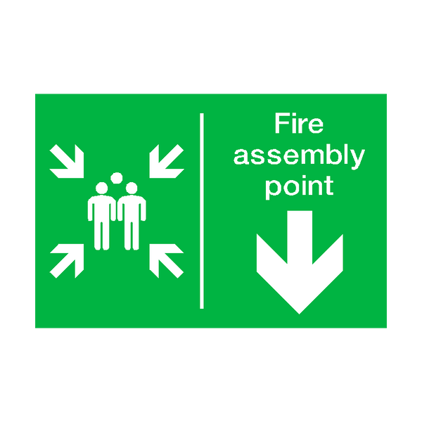 Fire Assembly Point Arrow Down Sticker - Safety-Label.co.uk