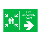 Fire Assembly Point Arrow Right Sticker | Safety-Label.co.uk