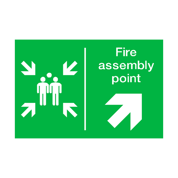 Fire Assembly Point Arrow Up Right Sticker - Safety-Label.co.uk