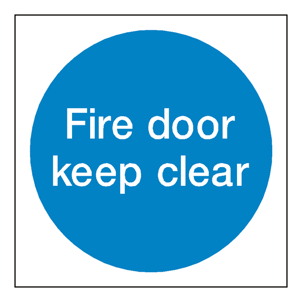 Fire door keep clear sticker