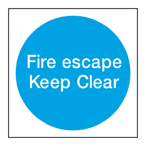 Fire Escape Keep Clear Sticker - Safety-Label.co.uk
