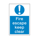 Fire Escape Keep Clear Sign - Safety-Label.co.uk