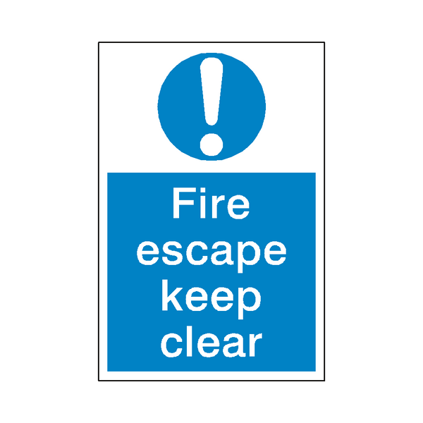 Fire Escape Keep Clear Sign | Safety-Label.co.uk