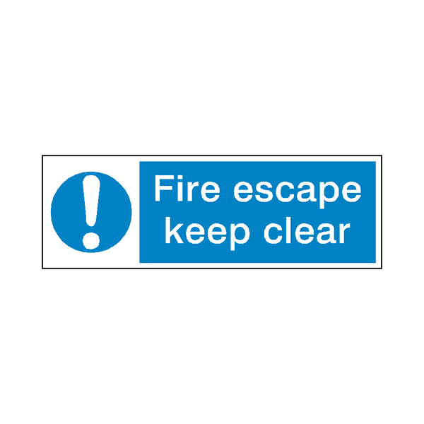 Fire Escape Keep Clear Safety Sign | Safety-Label.co.uk