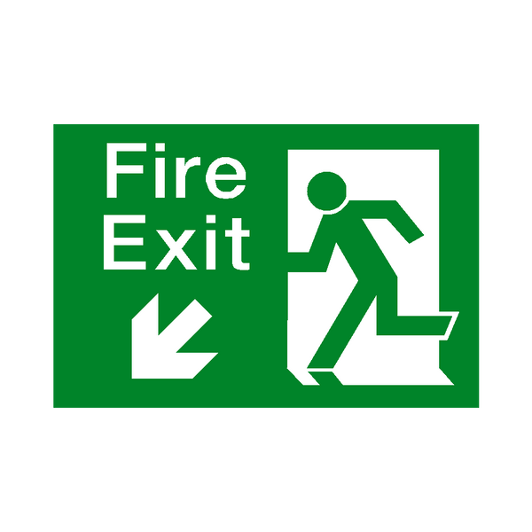 Fire Exit Arrow Down Left Sticker | Safety-Label.co.uk