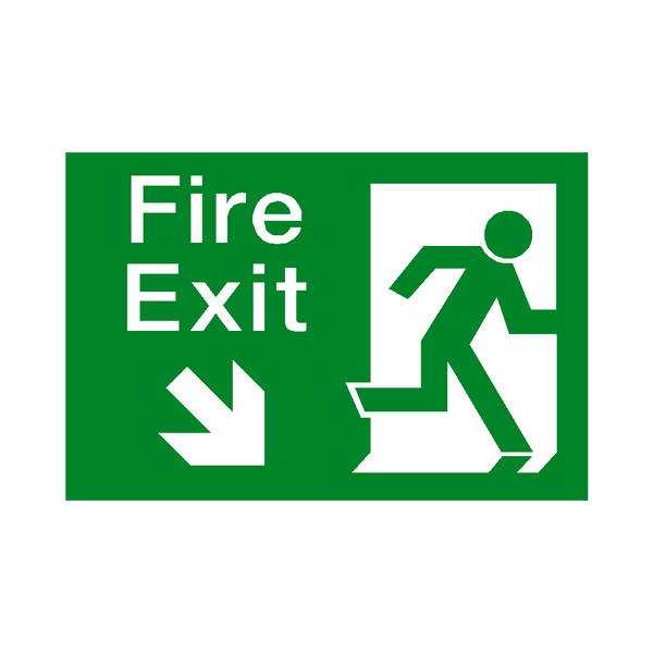 Fire Exit Arrow Down Right Sticker | Safety-Label.co.uk