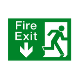 Fire Exit Arrow Down Sign | Safety-Label.co.uk