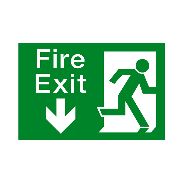 Fire Exit Arrow Down Sticker | Safety-Label.co.uk