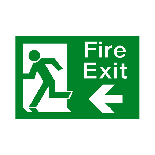 Fire Exit Arrow Left Sticker - Safety-Label.co.uk