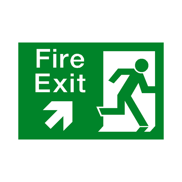 Fire Exit Arrow Up Right Sticker | Safety-Label.co.uk