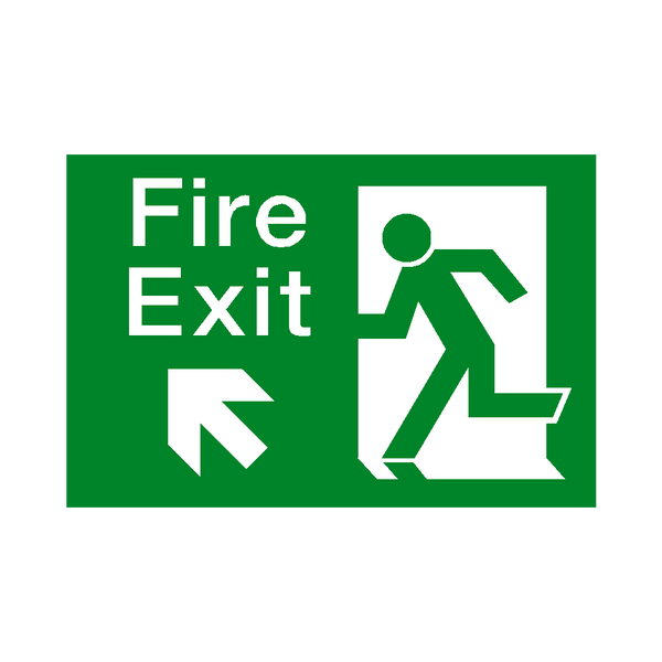 Fire Exit Arrow Up Left Sticker | Safety-Label.co.uk