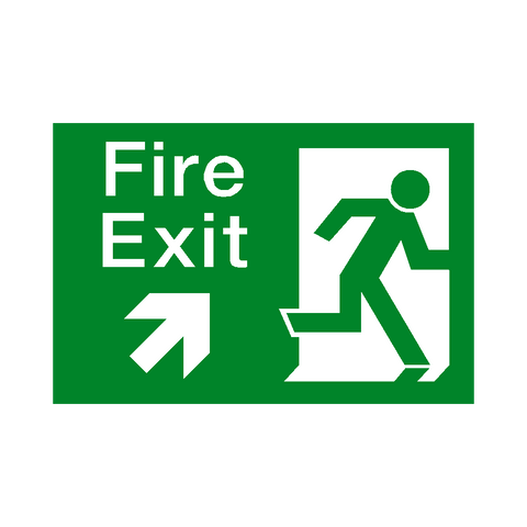 Fire Exit Arrow Up Right Sign - Safety-Label.co.uk
