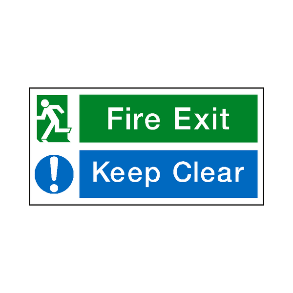 fire exit keep clear sign safety safety signs safety stickers safety labels. Black Bedroom Furniture Sets. Home Design Ideas