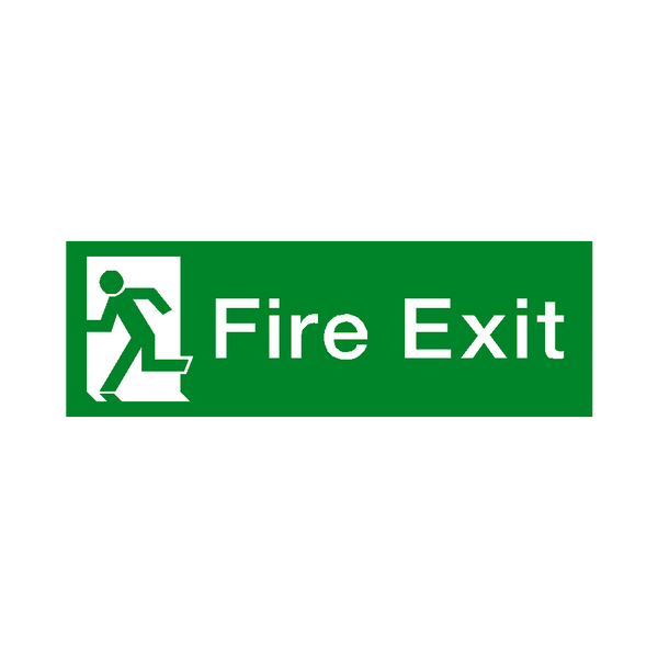 Fire Exit Running Man Left HSE Sticker - Safety-Label.co.uk